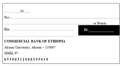 Specimen of a cheque